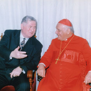 RADM Carey Conversing with Cardinal Raphael Bidawid in Baghdad, Iraq in 1998.