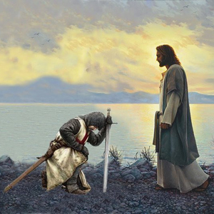 A Templar Knight pays homage to The LORD